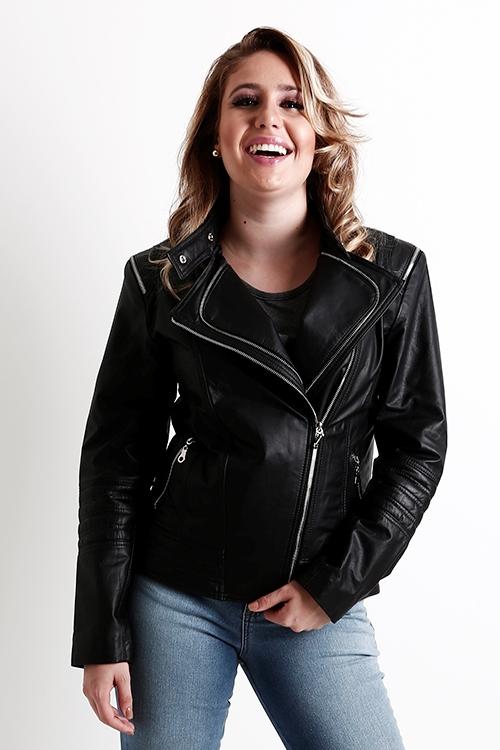 jaqueta couro feminina preta