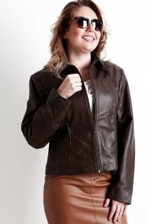 jaqueta couro marrom feminina