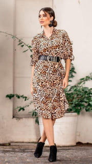 chemise longa animal print