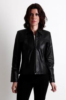 jaqueta couro preta feminina