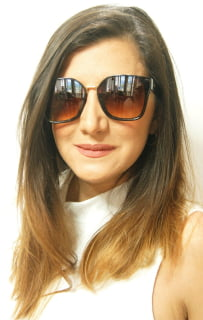 Óculos de sol feminino marrom grande - e-dress