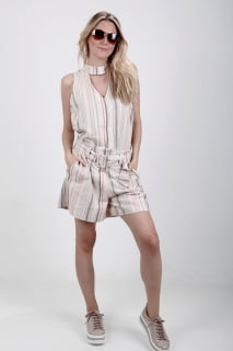blusa feminina linho listrada